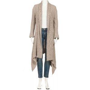 ❤️Cardigan Sweater Beige Knit Open Draped Long M